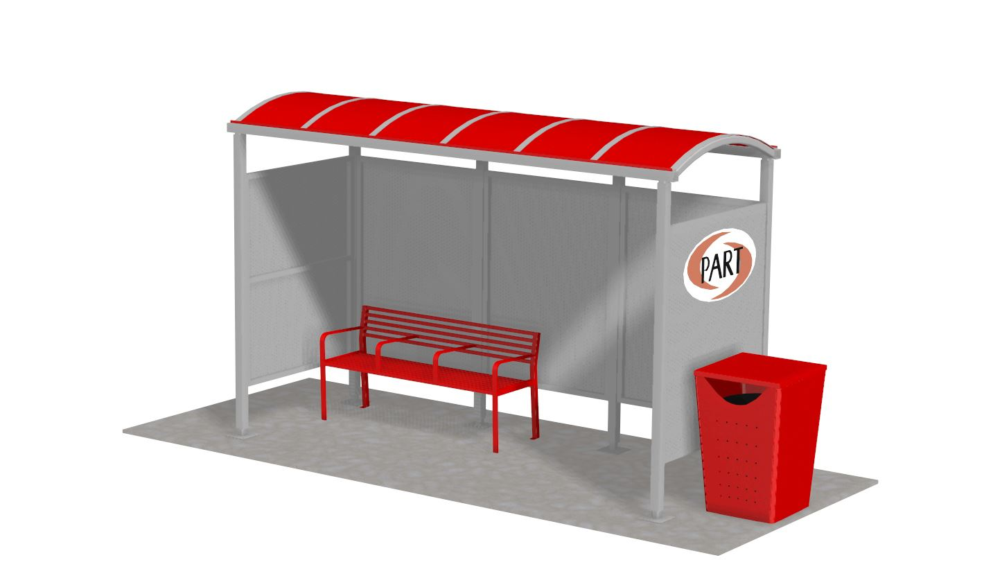 Digital rendering of a bus stop